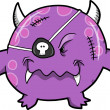 Purple Pirate Monster Vector Illustration - Stock Vector