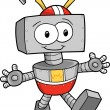 Happy Cute Robot Vector Illustration — Stock Vector
