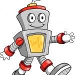 Happy Cute Robot Vector Illustration — Stock Vector