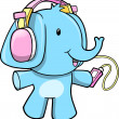 Music Elephant Vector Illustration - Stock Vector