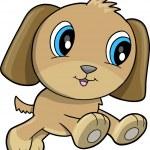 Happy Puppy Dog Vector Illustration — Stock Vector