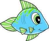 かわいい幸せの青い魚ベクトル イラスト — ストックベクタ