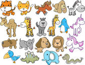 Cute dieren safari dieren in het wild vector set — Stockvector
