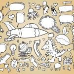Notebook Doodle Sketch Design Elements Mega Vector Illustration Set — Stock Vector