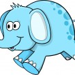 Silly Blue Elephant Vector Illustration — Stock Vector #8744793