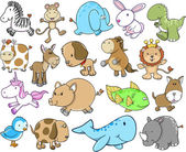 Cute Animal Safari Wildlife Vector Set — Stock Vector