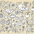 Doodle Spring Time Design Elements Vector Illustration Set — Stock Vector