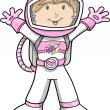 Astronaut Cartoon Girl Sketch Doodle Vector — Stock Vector