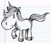 Notebook Doodle Sketch Unicorn Pony Vector Illustration — Stock Vector
