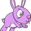 Crazy Purple Bunny Rabbit Vector Illustration Art — Stock Vector