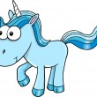 Goofy Blue Unicorn Vector Illustration — Stock Vector