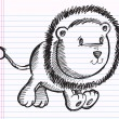 Notebook Doodle Sketch Lion Cub Vector — Stock Vector