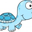 Blue Silly Turtle Vector Illustration Art — Stock Vector