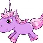 Pretty Purple Unicorn Animal Vector Illustration Art — Stock Vector
