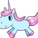 Cute Blue Unicorn Animal Vector Illustration Art — Stock Vector