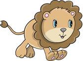 симпатичные lion cub животных сафари дикой природы вектор — Cтоковый вектор