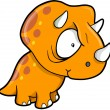 Crazy Orange Triceratops Dinosaur Vector Illustration - Stock Vector