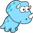 Silly Goofy Blue Triceratops Dinosaur Vector Illustration - Stock Vector