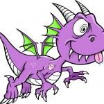 Crazy Purple Dragon Vector Animal Illustration Art — Stock Vector