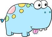 Goofy hipopótamo azul tonto vector animal safari — Vector de stock
