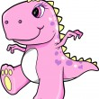 Cute Pink Girl Dinosaur T-Rex Vector Illustration Art — Stock Vector