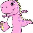 Cute Pink Girl Dinosaur T-Rex Vector Illustration Art — Stock Vector #8863826