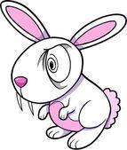 Evil White Bunny Rabbit Animal Vector Illustration Art — Stock Vector