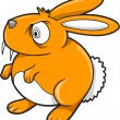 Royalty-Free Stock Vector Image: Crazy Orange Bunny Rabbit Vector Illustration Art