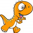 Crazy Orange Dinosaur Animal Vector Illustration Art — Stock Vector