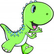 Happy Green Dinosaur Animal Vector Illustration Art — Stock Vector