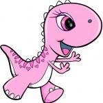 Pink Girl Dinosaur Animal Vector Illustration Art — Stock Vector #8871938