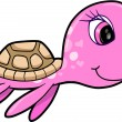 Pink Girl Summer Sea Turtle Animal Vector Illustration — Stock Vector