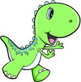 Happy Green Dinosaur Animal Vector Illustration Art — Stock Vector
