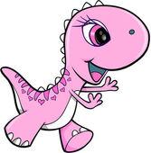 Розовая девушка динозавр животных Векторная Иллюстрация искусства — Cтоковый вектор