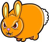 Vervelende gemiddelde bunny rabbit dierlijke vector illustratie kunst — Stockvector