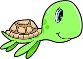 Schattig gelukkig zomer zee schildpad dierlijke vectorillustratie — Stockvector