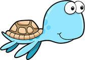 Silly Happy Summer Sea Turtle Animal Vector Illustration — Stock Vector