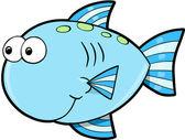 Silly Cute Fish Ocean Vector Illustration — Stock Vector