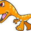 Tough Orange Dinosaur T-Rex Vector Illustration Art — Stock Vector