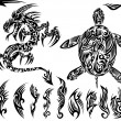 Dragon and Turtle Tattoo Set Vector Illustration — Stockvektor