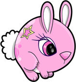 Pink Girl Bunny Rabbit Animal Vector Illustration Art — Stock Vector
