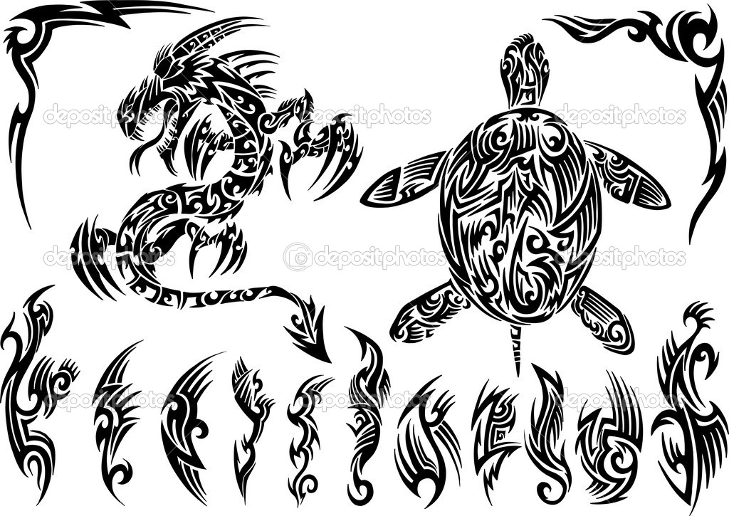 Dragon and Turtle Tattoo Set Vector Illustration  — Stock Vector #8975862