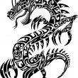 Stock Vector: Iconic Dragon Tribal Tattoo Vector Illustration