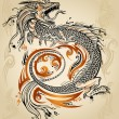 Dragon Doodle Sketch Tattoo Icon Tribal grunge Vector — Stock Vector