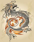 дракон doodle эскиз татуировки значок племенных гранж вектор — Cтоковый вектор