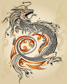 Dragon Doodle Sketch Tattoo Icon Tribal grunge Vector — Stok Vektör