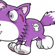 Stock Vector: Crazy Purple Wolf Puppy Dog Vector Illustration Art