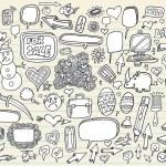 Doodle Speech Bubble Design Elements Mega Vector Illustration Set — Stock Vector