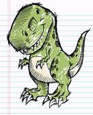 Tyrannosaurus Dinosaur Doodle Sketch Vector — Stock Vector