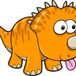 Silly Orange Dinosaur Animal Vector Illustration Art — Stock Vector #9171874
